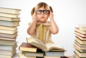 Girl glasses books